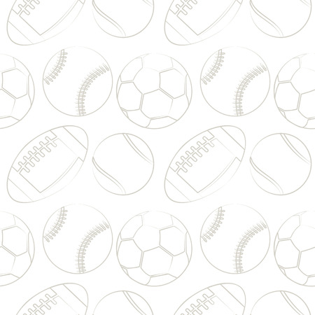 basketballs: Seamless vector pattern with sport equipment. Black and white background with tennis balls, footballs, basketballs and socer balls. Series of  Sports Patterns.