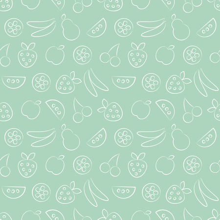 cuted: Seamless vector patterns with fruits. Pastel green background with strawberry, banana, apple, pear, watermelon and cherry. Series of Fruits and Vegetables Seamless Patterns