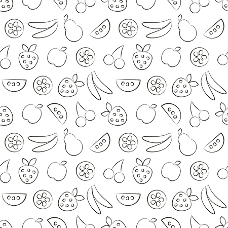 cuted: Seamless vector patterns with fruits. Black and white background with strawberry, banana, apple, pear, watermelon and cherry. Series of Fruits and Vegetables Seamless Patterns Illustration
