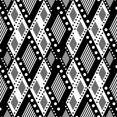 asymmetrical: Vector decorative ornamental geometric background with asymmetrical rhombus in black and white colors. Series of Seamless Geometrical Ornamental Patterns.