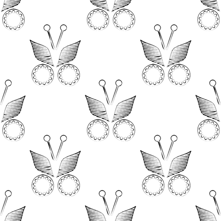 symmetrical: Seamless vector pattern with butterflies. Symmetrical black and white background.