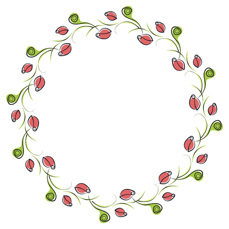 blanks: Vector floral frame. Cute border in the shape of circle with decorative roses. Series of Cards, Blanks, Frames and Forms.