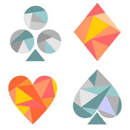 playing card symbols: Vector set of playing card symbols. Blue and red icons isolated on the backgrounds. Polygonal design. Geometric triangular origami style, graphic illustration.