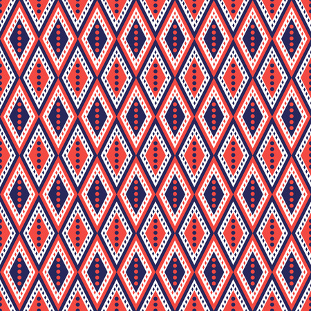 etno: Vector decorative ornamental geometric background with rhombus in blue and red colors. Series of Seamless Geometrical Ornamental Patterns. Illustration