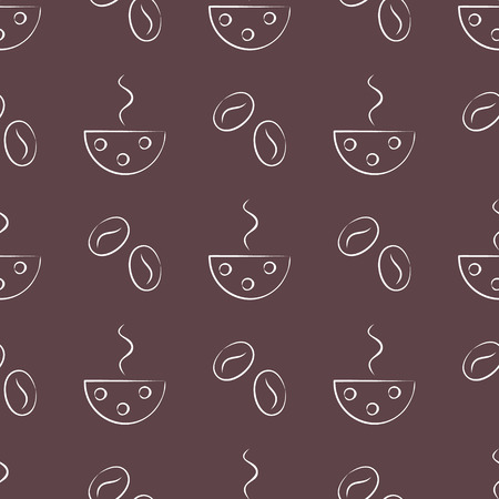 cofe: Seamless vector patterns with cups and cofee grains on the brown background. Series of Food and Drink Seamless Patterns