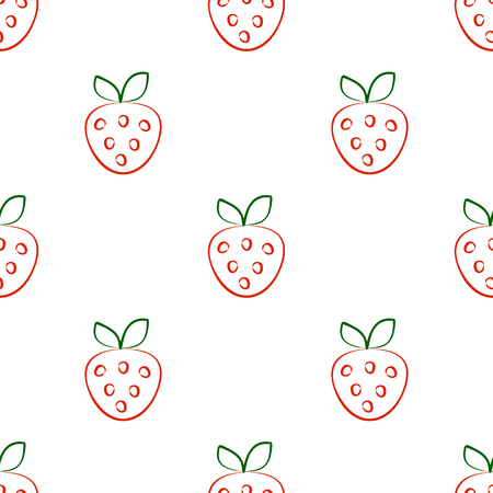 cuted: Seamless vector patterns with strawberry. Series of Fruits and Vegetables Seamless Patterns