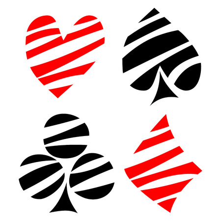 playing card symbols: Vector set of playing card symbols. Hand drawn decorative black and red lined icons isolated on the backgrounds. Graphic illustration Illustration