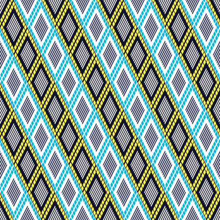 etnic: Vector decorative ornamental geometric background with rhombus in blue, yellow and white colors. Series of Seamless Geometrical Ornamental Patterns. Illustration