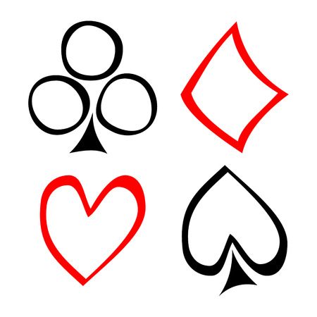 crooked: Vector set of playing card symbols. Hand drawn black and red icons isolated on the backgrounds. Graphic illustration