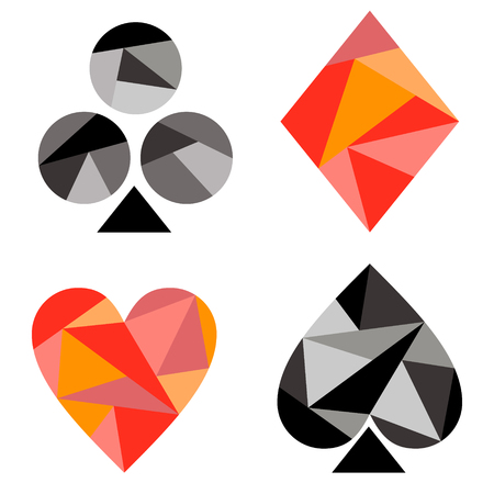playing card symbols: Vector set of playing card symbols. Black and red icons isolated on the backgrounds. Polygonal design. Geometric triangular origami style, graphic illustration.