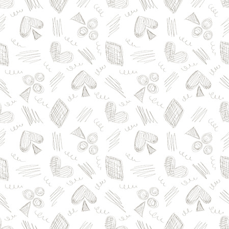 linework: Seamless vector pattern with icons of playing cards and scribble on the white background. Series of Gamin, Gambling and Cartoon, Doodle, Sketch Seamless Patterns. Illustration