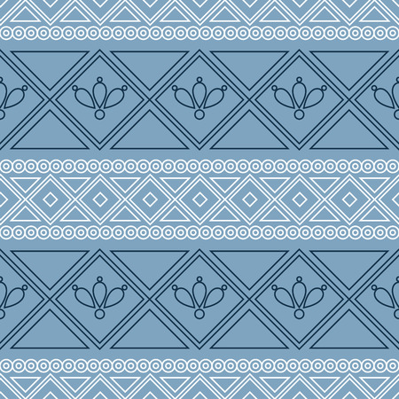 etno: Seamless vector pattern.  Traditional ethno background in blue colors. Series of National, Folk, Ethnic and Traditional Seamless Patterns.