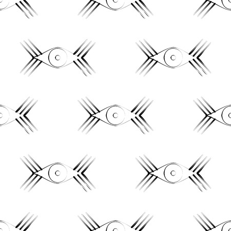 symmetrical: Seamless vector pattern with eyes. Symmetrical black and white background.