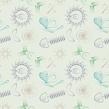 vertebra: Seamless abstract vector pattern with fish skeleton, sun, eyes and butterfly.