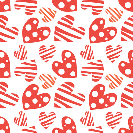 repeating background: Seamless vector pattern with hearts. Background with red hand drawn ornamental symbols. Decorative repeating ornament. Series of Love Seamless Patterns.