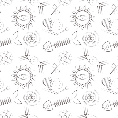 skeleton of fish: Seamless abstract vector pattern with fish skeleton, sun, eyes and butterfly.
