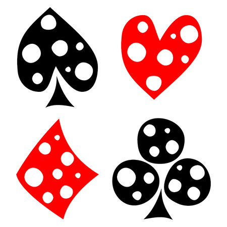 crooked: Vector set of playing card symbols. Hand drawn black and red icons with white dots, isolated on the backgrounds. Graphic illustration Illustration