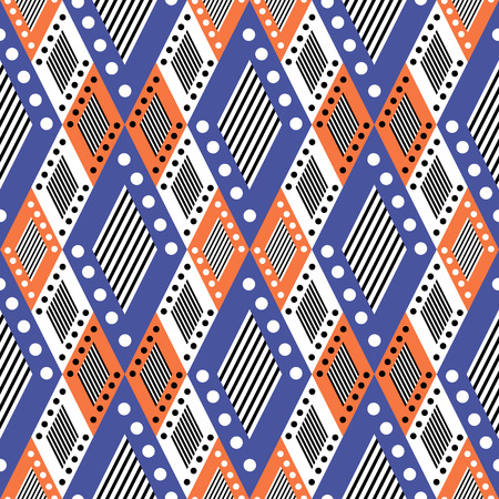 etnic: Vector decorative ornamental geometric background with asymmetrical rhombus in blue and red colors. Series of Seamless Geometrical Ornamental Patterns. Illustration