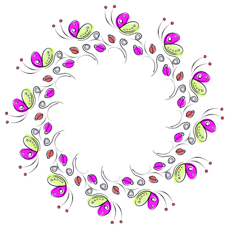 blanks: Vector floral frame with insects. Cute drawn border in the shape of circle with decorative roses and butterflies. Series of Cards, Blanks, Frames and Forms.