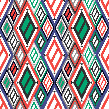 asymmetrical: Vector decorative ornamental geometric background with asymmetrical rhombus in blue, red and green colors. Series of Seamless Geometrical Ornamental Patterns. Illustration