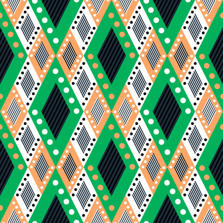 asymmetrical: Vector decorative ornamental geometric background with asymmetrical rhombus in green colors. Series of Seamless Geometrical Ornamental Patterns.