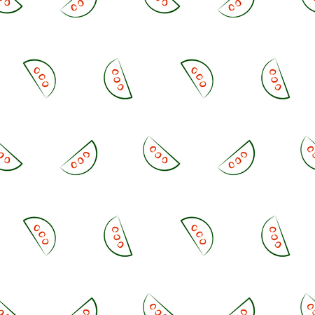 cuted: Seamless vector patterns with slices of watermelon. Series of Fruits and Vegetables Seamless Patterns Illustration