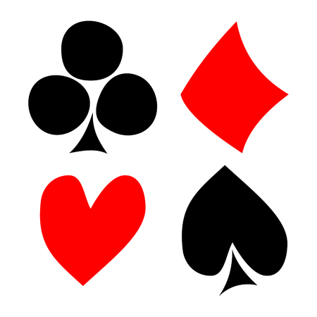 playing card symbols: Vector set of playing card symbols. Hand drawn black and red icons isolated on the backgrounds. Graphic illustration