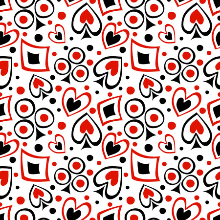 Seamless vector pattern with icons of playings cards. Background with black and red hand drawn symbols on the white. Decorative repeating ornament. Series of Gaming and Gambling Seamless Patterns.