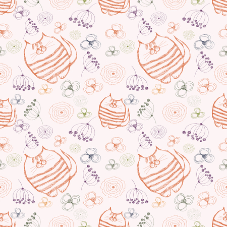 Seamless vector pattern. Cute background with hand drawn cats and flowers. Series of Cartoon, Doodle, Sketch and Scribble Seamless Vector Patterns. Illustration