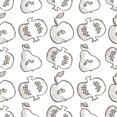 bono: Seamless vector pattern with hand drawn fruits. Black and white Background with pomegranates, apples, pears. Series of Cartoon, Doodle, Sketch and Hand drawn Seamless Patterns. Illustration