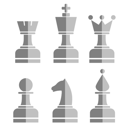 chessmen: Vector set of chess figures. Grey chessmen isolated on the white background.