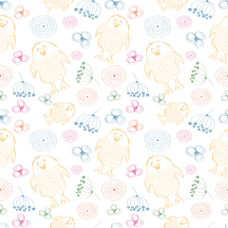 Seamless vector pattern. Cute colorful background with hand drawn chickens and flowers. Series of Cartoon, Doodle, Sketch and Scribble Seamless Vector Patterns. Illustration