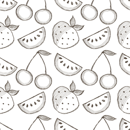 srawberries: Seamless vector pattern with hand drawn fruits. Black and white Background with watermelons, srawberries and cherries. Series of Cartoon, Doodle, Sketch and Hand drawn Seamless Patterns.