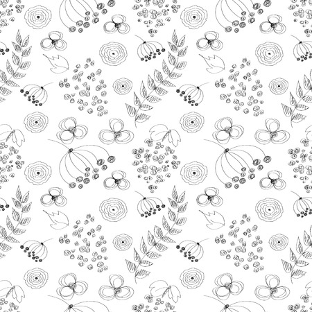 linework: Seamless vector black and white pattern with hand drawn drawn flowers, leaves. Series of Cartoon, Doodle, Sketch and Scribble Seamless Patterns and Backgrounds.