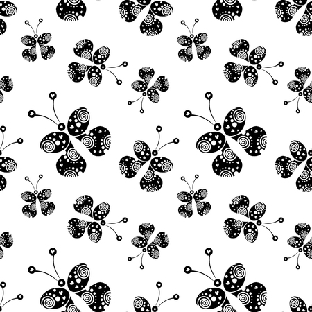 closeup: Seamless vector pattern with insects, background with black decorative ornamental beautiful butterflies on the white backdrop. Decorative repeating tiled ornament. Series of Insects Seamless Patterns.