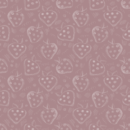 bordo: Seamless vector gray pattern with hand drawn strawberries and scribbles on the vinous background. Series of Cartoon, Doodle, Sketch and Scribble Seamless Patterns. Illustration
