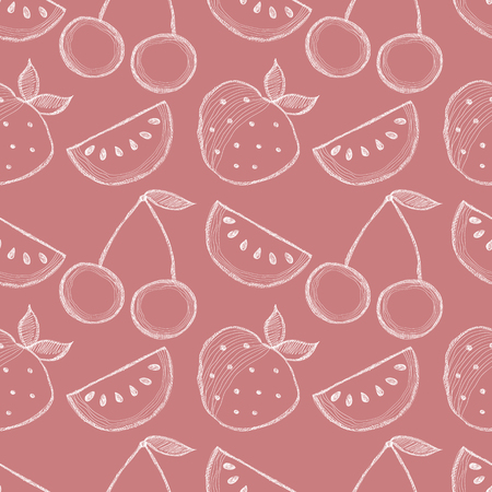 srawberries: Seamless vector pattern with hand drawn fruits. Background with watermelons, srawberries and cherries. Series of Cartoon, Doodle, Sketch and Hand drawn Seamless Patterns.