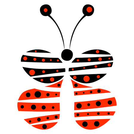 red butterfly: Vector illustration of decorative blue and red butterfly isolated on the white background. Series of Animals and Insects Illustrations. Illustration