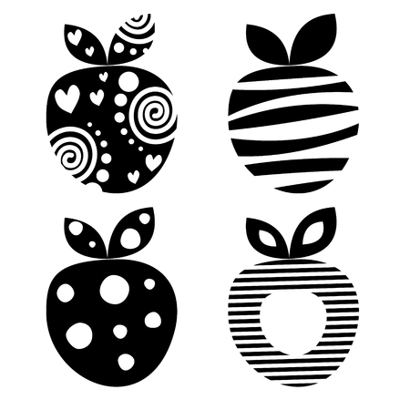 set series: Vector set of different fruits illustrations. Decorative ornamental black and white strawberries isolated on the white background. Series of Fruits Illustrations.