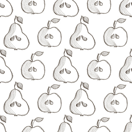 bono: Seamless vector pattern with hand drawn fruits. Background with pears and apples. Series of Cartoon, Doodle, Sketch and Hand drawn Seamless Patterns. Illustration