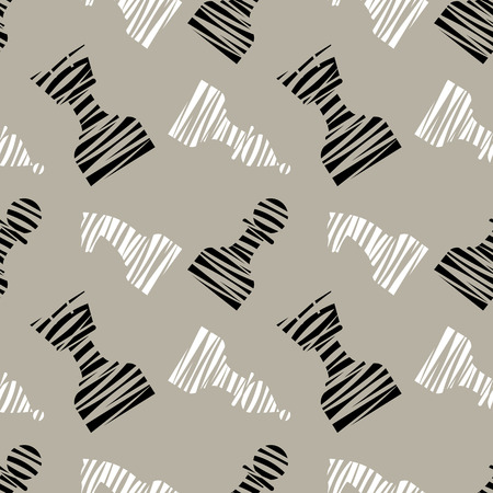 chessmen: Seamless vector chaotic pattern with black decorative lined chess pieces. Grey background with black and white chessmen. Series of Gaming and Gambling Patterns.