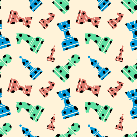 chessmen: Seamless vector chaotic pattern with decorative dotted chess figures. Background with colorful chessmen. Series of Gaming and Gambling Patterns.