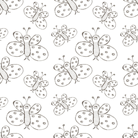 Seamless vector pattern. Cute black and white background with hand drawn butterflies. Series of Cartoon, Doodle, Sketch and Scribble Seamless Vector Patterns. Illustration