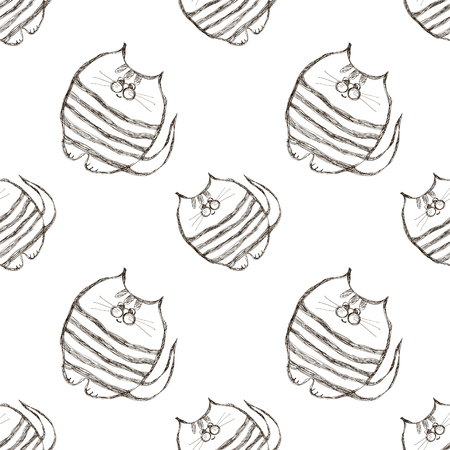 linework: Seamless vector pattern. Cute black and white background with hand drawn cats. Series of Cartoon, Doodle, Sketch and Scribble Seamless Vector Patterns.
