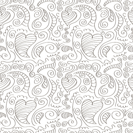 ringlet: Seamless vector pattern. Decorative ornamental black and white background.