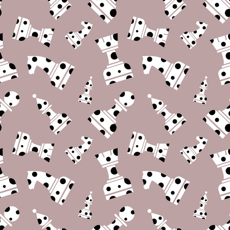 chessmen: Seamless vector chaotic pattern with decorative dotted chess figures. Grey background with white and black chessmen. Series of Gaming and Gambling Patterns.