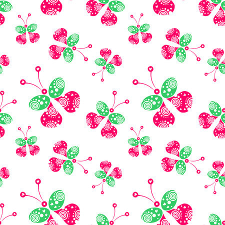 pink wallpaper: Seamless vector pattern with insects, background with pink and green decorative ornamental beautiful butterflies. Decorative repeating tiled ornament. Series of Insects Seamless Patterns.