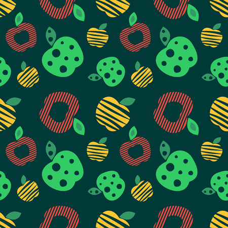 green apples: Seamless vector pattern with colorful ornamental different apples on the dark green background. Repeating ornament. Series of Fruits and Vegetables Seamless Patterns. Illustration