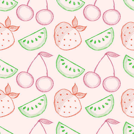 srawberries: Seamless vector pattern with hand drawn fruits. Colorful Background with watermelons, srawberries and cherries. Series of Cartoon, Doodle, Sketch and Hand drawn Seamless Patterns. Illustration
