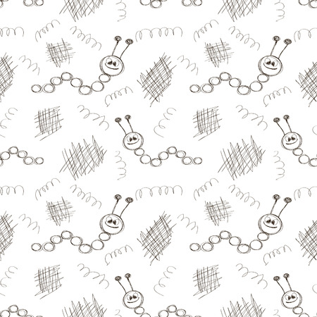 scribbles: Seamless vector pattern. Cute colorful background with hand drawn caterpillers and scribbles. Series of Cartoon, Doodle, Sketch and Scribble Seamless Vector Patterns.